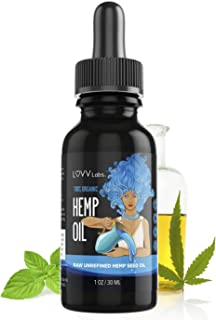 LUVV Drops Organic Hemp Oil - Calming Vegan Omega 3 & 6 Fatty Acids - Cold-Pressed, Plant-Based Extract - Naturally Support Heart, Joint, Brain, Skin, Vision Health - Peppermint Flavored Liquid Black