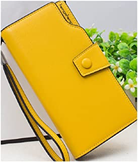 Ulrea-Large Capacity Leather Wallet Soft Billfold Purse (Color : Yellow)