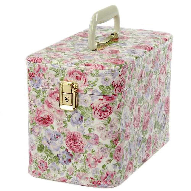 日本製 メイクボックス (コスメボックス)ロゼ柄 30cm ピンク トレンケース(鍵付き/コスメボックス)