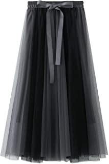 ZJMIYJ Kjolar för kvinnor – veckade rosett bundna långa kjolar elastisk hög midja lapptäcke tyllkjol kvinnor vår kvinnors ...