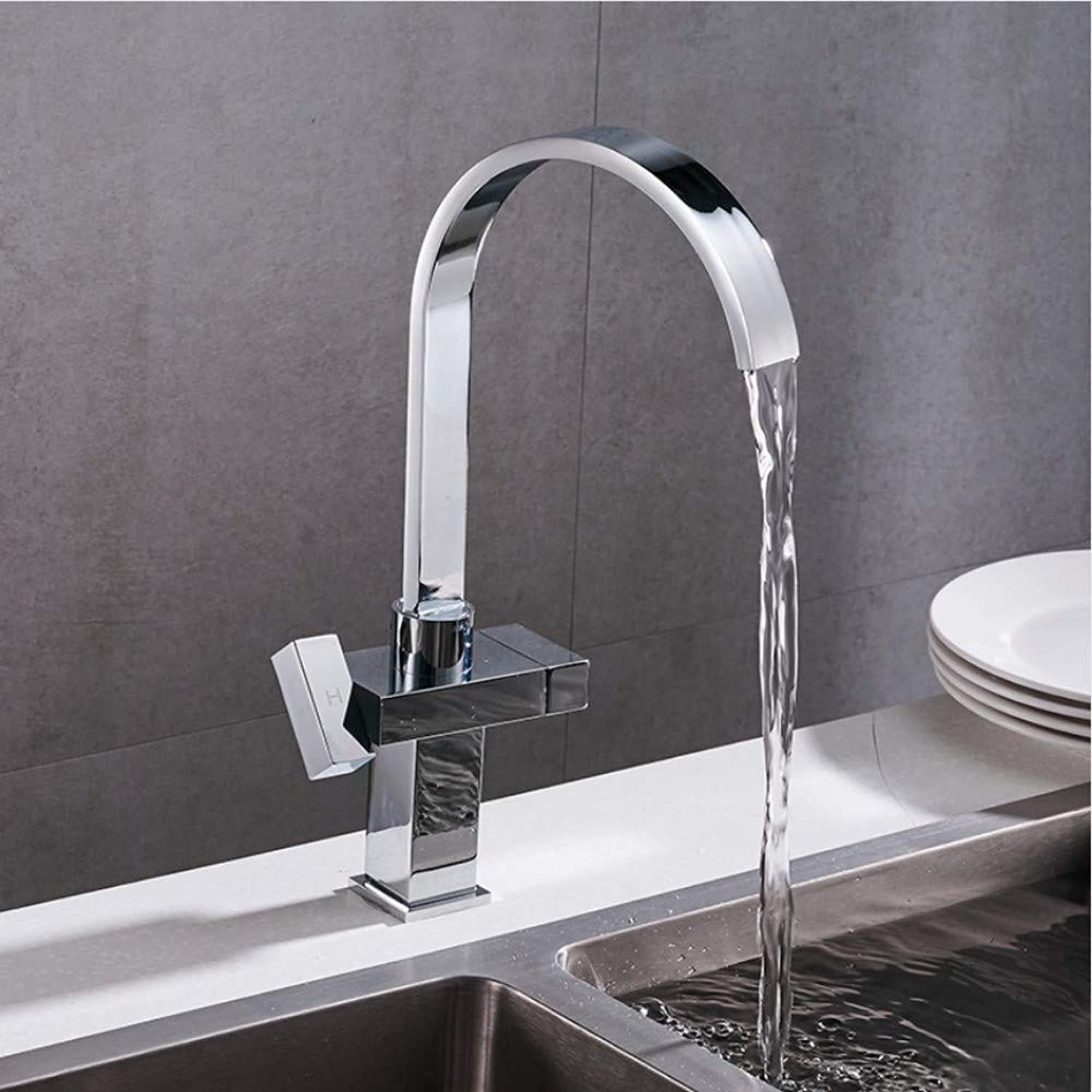 Lddpl Tap New Arrival Dual Holder Single Hole Kitchen Faucet Deck Mounted Hot and Cold Water Mixer Tap Kitchen Sink Mixer