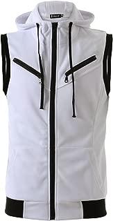 uxcell Men Kangaroo Pocket Zip Up Drawstring Hooded Sleeveless Vest