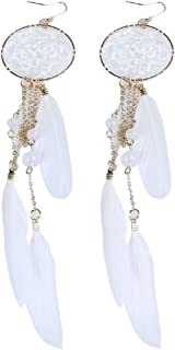 2016 New Hot Bohemia Feather Beads Long Design Dream Catcher Earrings for Women Jewelry (White)