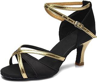 HIPPOSEUS Zapatos de Baile Latino para Mujer Zapatos de Baile de Salsa Tacón 5CM / 7CM Suela de Gamuza Modelo WZSP805