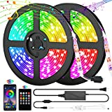 LED Strip Lights, 32.8ftColor Changing Rope LightsSMD 5050 RGB Light Strips with24key Remote Control+Bluetooth APP Controller Sync to Music Apply for TV, Bedroom, Party and Home Decoration
