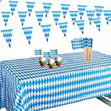Gxhong Decoración Festival de la Cerveza,Decoraciones de Fiesta de Oktoberfest Banderines Triángulo Mantel Decorativo Banderas de Palillo de Dientes Decoración de Bandera de Bávara,Cumpleaños Fiesta