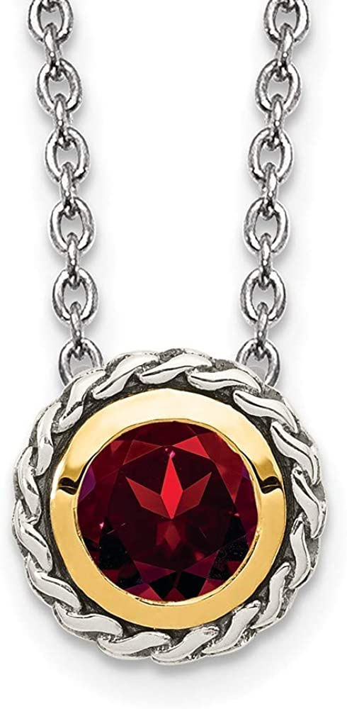 925 Sterling Silver 14k Max 70% OFF Accent Popular standard Necklace Red Pendant Chain Garnet