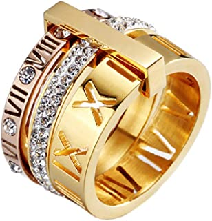 PAMTIER Women's Stainless Steel with Zirconia Roman Numerals 3 في 1 Ring