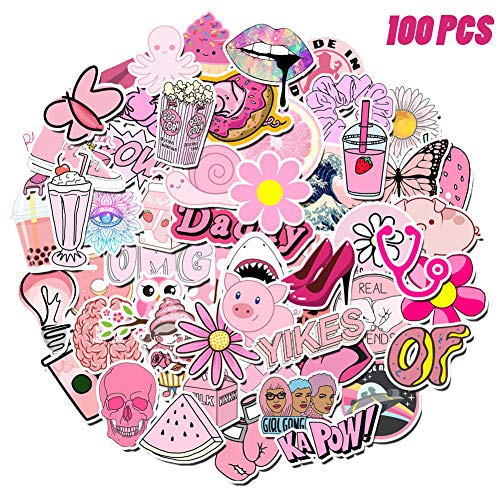 DYNOSON 100 Pcs VSCO Stickers Water Bottles Pink Cute Theme Waterproof Aesthetic Trendy Vsco Vinyl Stickers Decals for Laptops, Computers, Hydro Flasks - Suitable for Teens Kids Girls and Boys