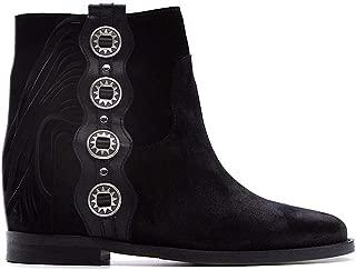 VIA ROMA 15 Luxury Fashion Womens 3308VELOURNERO Black Ankle Boots  