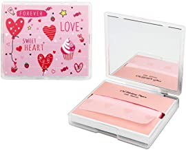 [200 Counts + Mirror Case] Face Oil Blotting Paper Sheets with Makeup Mirror - Pink Sweetheart Printed Oil Absorbing Sheets made in Japan