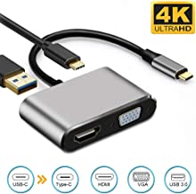USB C to HDMI VGA Adapter 4-in-1 Weton USB C Hub with 4K HDMI,1080P VGA,USB 3.0, 87W USB C PD Charging (Thunderbolt 3)Type C Multiport Adapter for MacBook Pro/Nintendo Switchi/Pad Pro/Dell XPS/Samsung