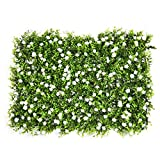 Thrivinger Artificial Boxwood Topiary Hedge Plant UV Protection Indoor Outdoor Privacy Fence, Artificial Boxwood Panel w/Little White Flowers, for Garden,Home,Backyard and Green