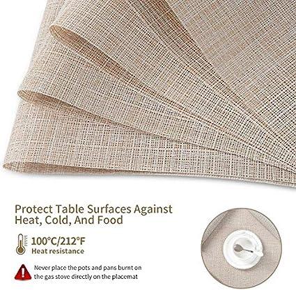 SD SENDAY Placemats Washable Durable PVC Table Mats Woven Vinyl Placemats Set of 8 Heat-Resistant Placemats Stain Resistant Anti-Skid Placemats for Kitchen Table Beige White, 8Pcs