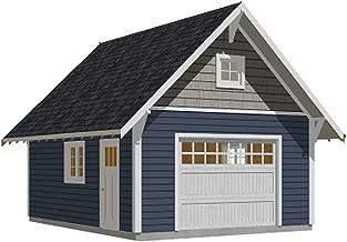 Garage Plans : 1 Car Craftsman Style Garage Plan with Attic - 384-6 - 16' x 24' - one car - by Behm Design