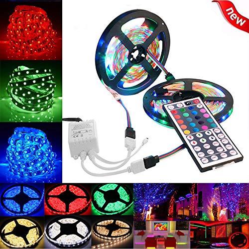 KANGMOON LED Strip Lights, LED Tape Lights, Color Changing LED Strip Lights with Remote for Home (L500cm (5M) × W0.8cm x T0.25cm, Colorful)