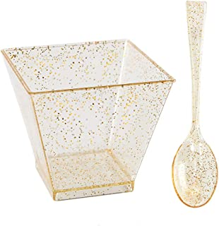 200 Pieces Plastic Dessert Cups with Mini Spoons Gold Glitter, Premium Quality, Includes 100 Pieces Small Disposable Square Cups 2 Oz and 100 Pieces Gold Mini Spoons
