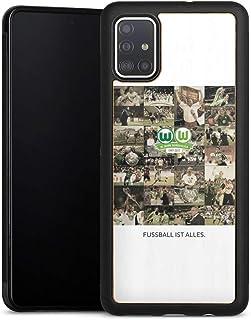 DeinDesign Holz Case kompatibel mit Samsung Galaxy A51 Walnuss Handyhülle Echtholz Hülle Offizielles Lizenzprodukt VFL Wolfsburg Statement