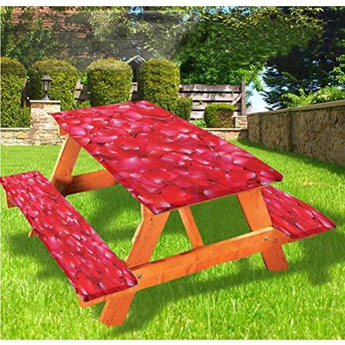 LEWIS FRANKLIN - Cortina de ducha con bordes elásticos, diseño de rosas de lujo, para mesa plegable