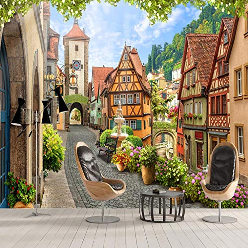 Wall Mural European City Street Scenery 300X210cm Non-Woven Art Print 3D Wallpaper Mural Photo Kids Bedroom Kitchen Poster Decoration – Mural Consists of 6 Pieces