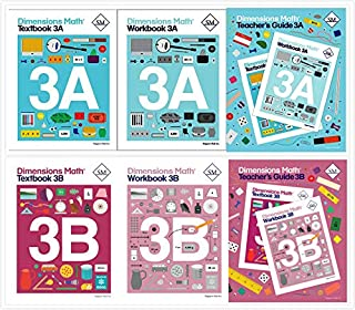 Dimensions Math Level 3 Set (6 Books) -- Textbooks 3A and 3B, Workbooks 3A and 3B, Teacher's Guides 3A and 3B