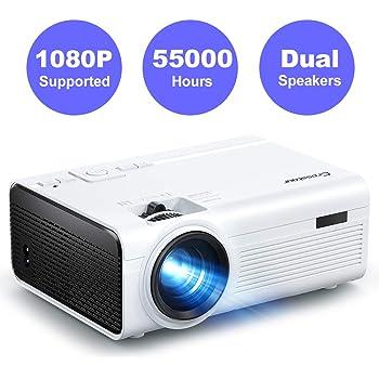 Vidéoprojecteur, Crosstour Mini Projecteur, Portable Rétroprojecteur 55000 Heures LED Full HD Supporté HDMI/USB/TV Box/AV/VGA/PC/PS4 et Téléphone Compatible