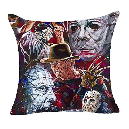 Fyon Ghost Freddy Toy Bear Doll Horror Game Cushion Cover Classic Game Pillow Cover Decorative Pillows for Sofa Car 18x18inch 10L