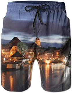 Strasbourg France at Night Ultra-Light Sandy Beach Pants Board Shorts with Telescopic Tape