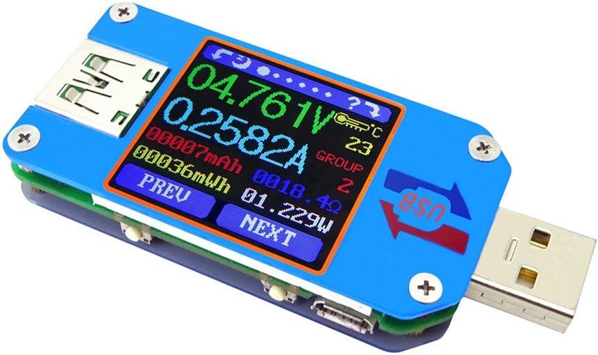RD UM25C/ UM25 USB 2.0 Type- C Color LCD Tester voltage current meter Voltmeter ammeter battery charge measure cable resistance (UM25C)