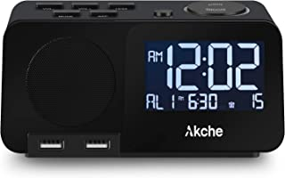 Akche Alarm Clock with FM Radio Night Light Digital Alarm Clocks for Bedrooms,Adjustable Volume,Dimmers with Three-Level Intensity, Two USB Charging Port,Two Alarm Setting