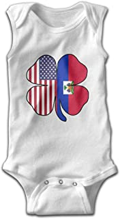 DFFJ2PP American Haitian Flag Shamrock Sleeveless Jumper for Newborn Infant Baby Rompers 100% Cotton White