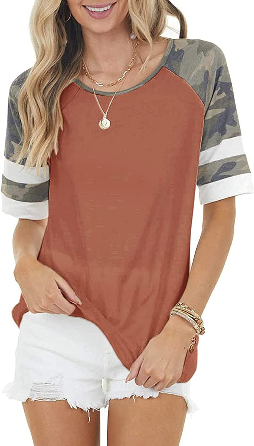 YunYou Free Shipping New Max 46% OFF Womens Round Neck Shirt Raglan Sho Camouflage Color Block