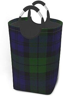 ZCHW Panier à Linge écossais à Carreaux Vert Noir Bleu Campbell Tartan Panier de Rangement, Toile Tissu bac de Rangement P...