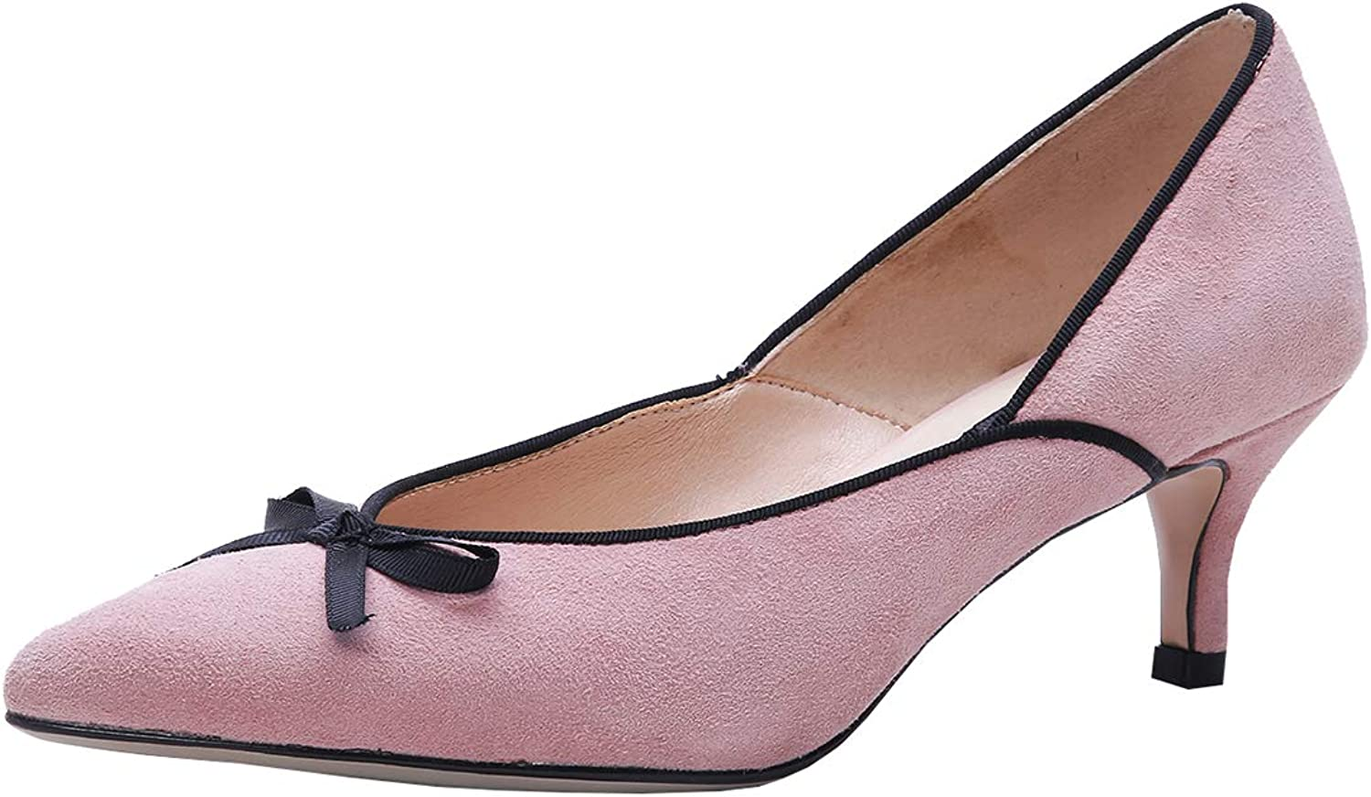 Artfaerie Womens Kitten Heel Pointed Toe Pumps Nubuck Leather Bridal Wedding Court shoes with Bows