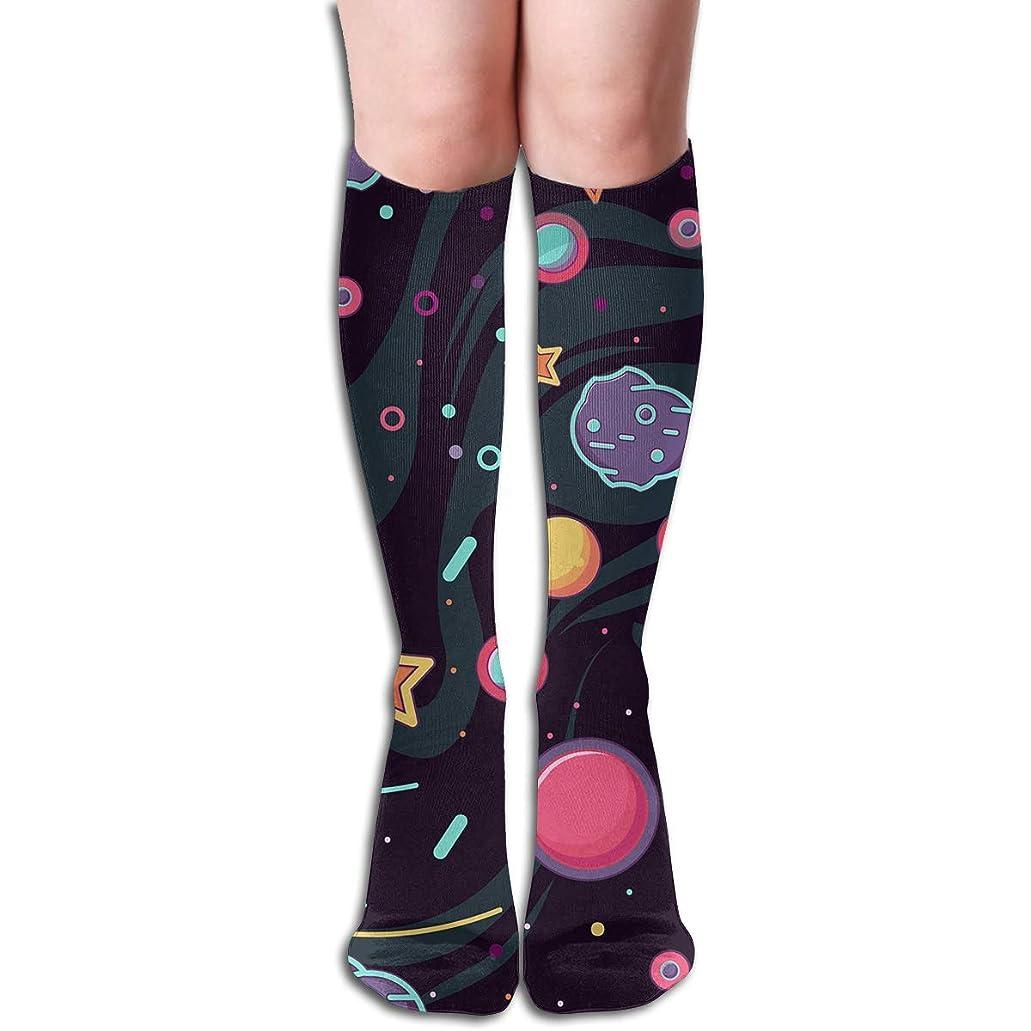 ストロー憧れ自治qrriyカートゥーンスペースロケットチューブストッキングレディース冬暖かい膝ハイソックスブーツ靴下