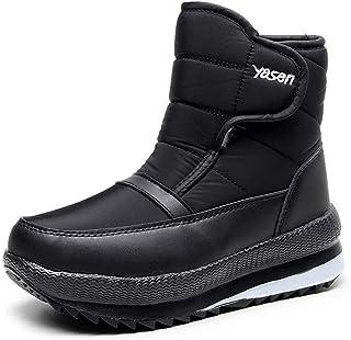 Magnifier Bottes de Neige pour Hommes Hiver Thermique Villi Cuir Velcro Chaussures de Marche en Plein air antidérapant lég...