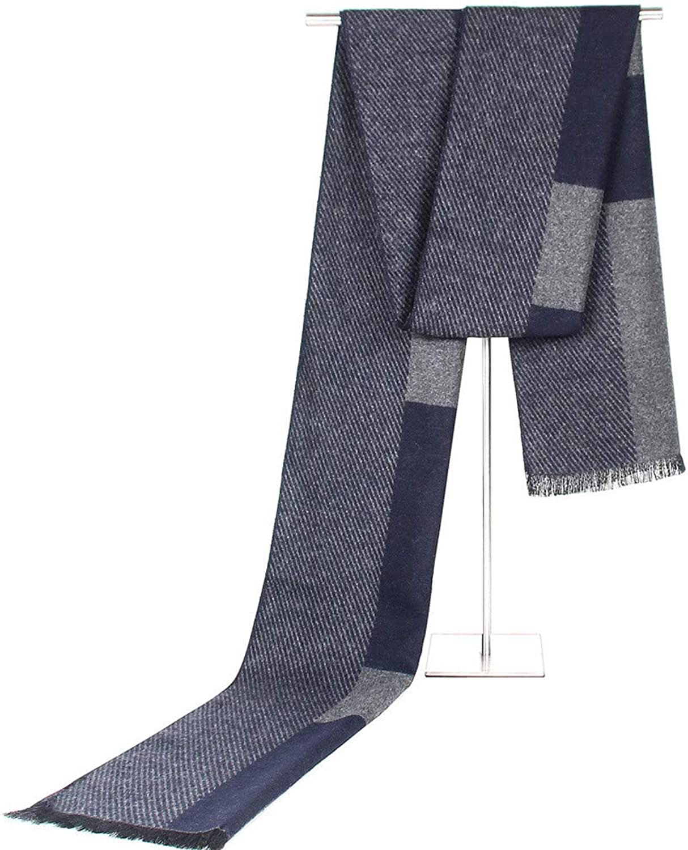 Men's Elegant Tassel Ends Scarf Neck Multi-Functional Winter Warm Wrap Soft Shawl Scarves Anti-Allergy (color   blueee)
