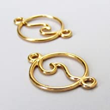 Pendant Jewelry Making Ocean Wave Charms 28mm Gold Plated Connector 5pcs