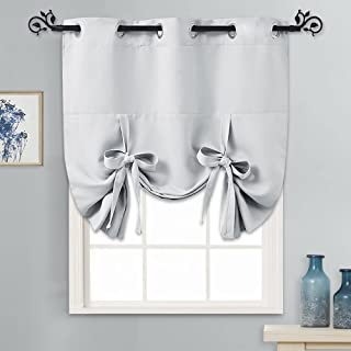 PONY DANCE Tie Up Curtains - Bedroom Window Shade Room Darkening Light Filter Roman Shade Drapes Rings Up Valance Elegant for Home Decoration, 1 Panel, 46 x 63 inches, Greyish White