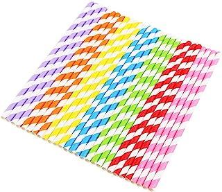 Vicloon 175-Delige Papieren Drinkrietjes voor Eenmalig Gebruik, Kleurrijke Strepen Wegwerpdecoratie Papieren Rietjes voor ...