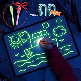 onegoodcar Light Drawing Pad, Luminescent Drawing Board Glow in Dark Kids Paint Toy with 3 Pens - Fun and Developing Toy (M (8.2