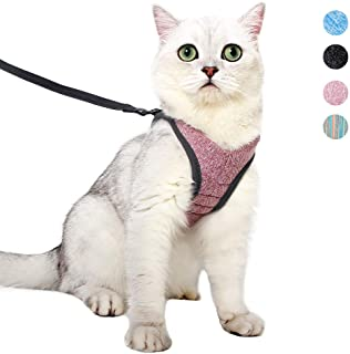 Yult Cat Harness and Leash Set Ultra-Light Escape Proof Kitten Collar Cat Walking Jacket with Running Cushioning Soft and Comfortable Suitable for Puppies Rabbits(S,Pink)