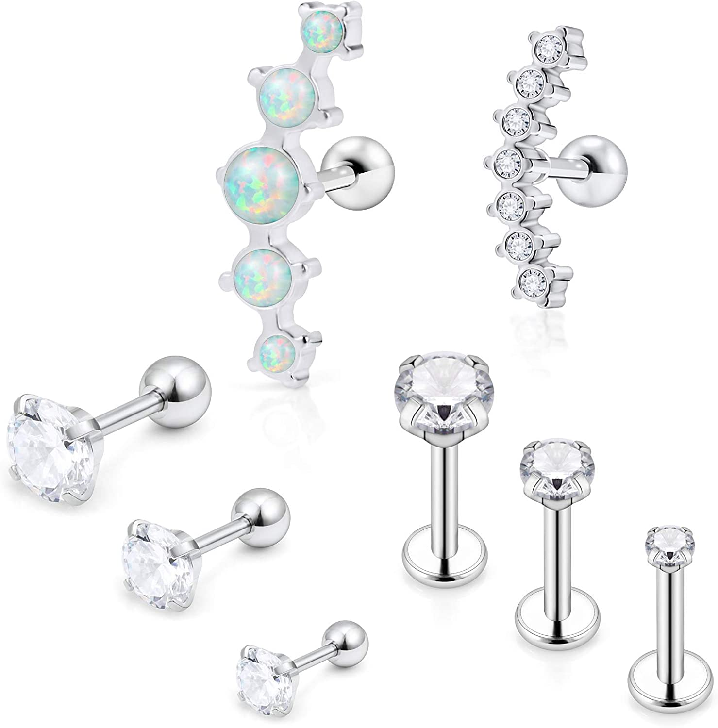 SCERRING 8PCS 16G Stainless Steel Helix Daith Cartilage Tragus Earrings Barbell Rings Stud Body Piercing Jewelry Opal Clear CZ Bar Length 6mm