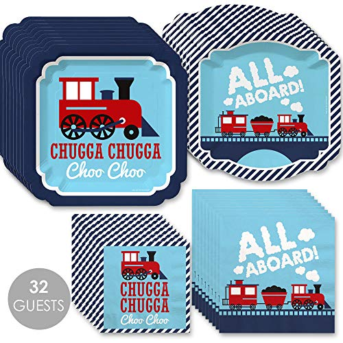 Big Dot of Happiness Railroad Party Crossing - Steam Train Birthday Party or Baby Shower Tableware Plates and Napkins - Bundle for 32