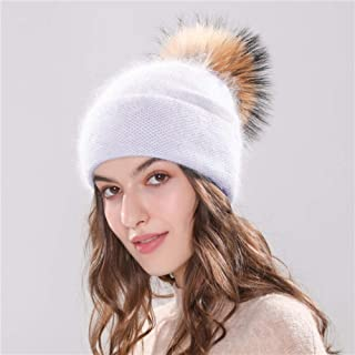 Winter hat Women'S Hat Winter Beanie Knitted AngolaBonnet Girl 'S Fall Female Cap With Fur Pom Pom