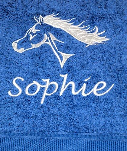 md-design Duschtuch mit Pferde Motiv Pferd und Wunschname Bestickt, 70x140cm, 500 gr/qm - schwere Qualität, 100% Baumwolle, Uni-Walkfrottier Farbe royal