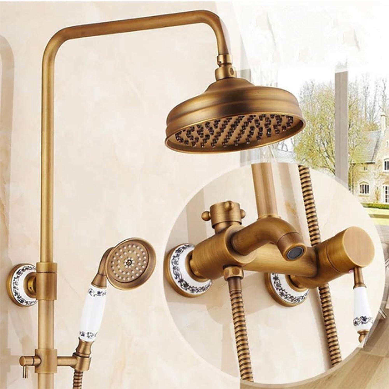 SISHUINIANHUA Antik Messing Bad Dusche Set Wasserhahn Dual Griff Wand montiert 8 Regendusche Mischbatterien