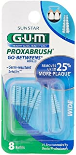 GUM Go-Betweens Proxabrush Refills Wide [614] 8 Each ( Pack of 12)