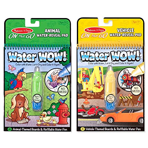 Melissa & Doug On the Go Water Wow! The Original Reusable Water-Reveal Activity Pads, Vehicle & Animal Watercolor Books, 2-Pack, Great Gift for Girls and Boys - Best for 3, 4, and 5 Year Olds