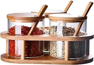 UPKOCH Recipiente de condimento de Vidrio Caja de condimento Conjunto de Tarro de Especias Olla de condimento de Vidrio de Cocina Transparente con Cuchara y Tapa de bambú